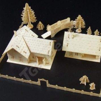T Gauge B-073 Farmhouse and Out Building Kit