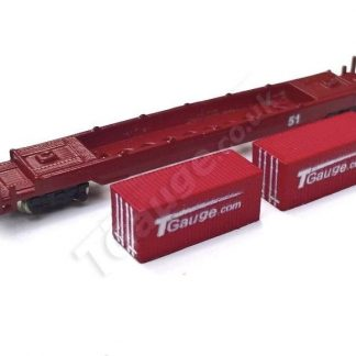 T Gauge Maroon Container Wagon Set