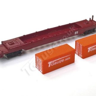 T Gauge Orange Container Wagon Set