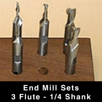 """End Mills (ball nose) - 3-flute - 1/4"""" Shank"""