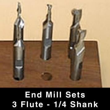 "End Mills (long) - 3-flute - 1/4"" Shank"