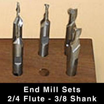 """End Mills (single end) - 2/4-flute - 3/8"""" Shank"""