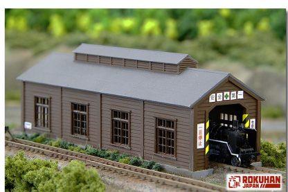 Rokuhan S051-1 Wood Engine House Single Stall in Dark Brown