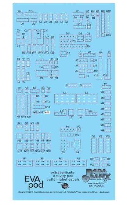 Paragrafix 1/8 Scale EVA Pod Button Labels Decals PGX224