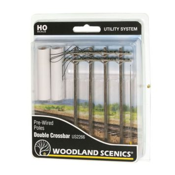 Woodland Scenics HO Scale Double Crossbar Pre-Wired Poles US2266