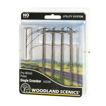 Woodland Scenics HO Scale Single Crossbar Pre-Wired Poles US2265
