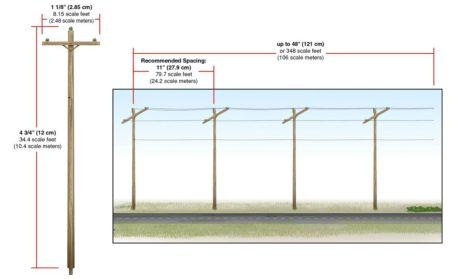 Woodland Scenics HO Scale Single Crossbar Pre-Wired Poles US2265 Measurements