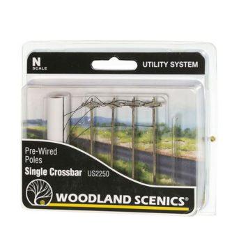 Woodland Scenics N Scale Single Crossbar Pre-Wired Poles US2250