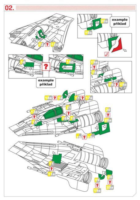 Green Strawberry 1/72 Star Wars A-Wing Starfighter Mask for BANDAI GSW-AM7 Instructions Page 2